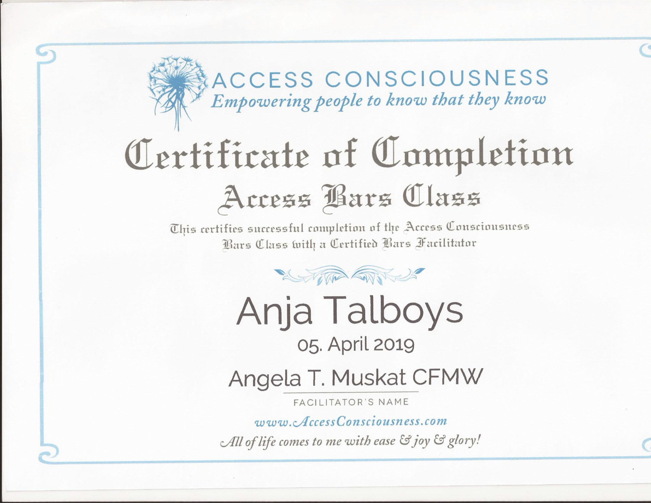 Access Bars Zertifikat