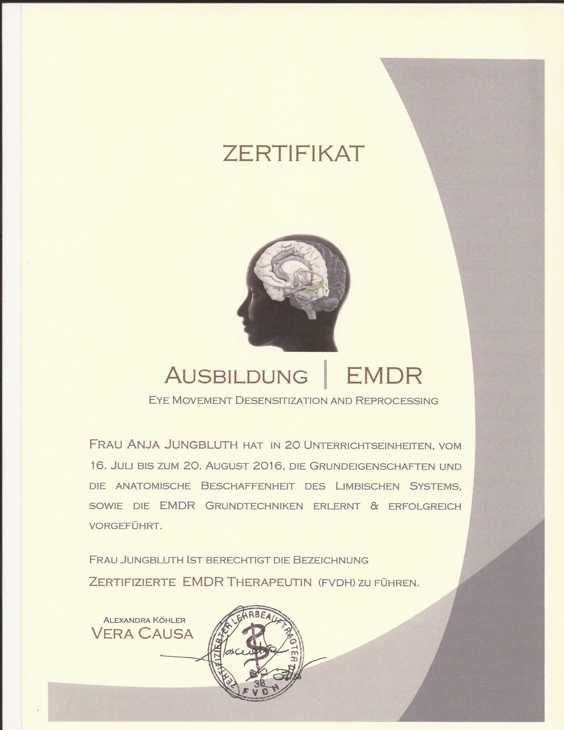 EMDR Zertifikat