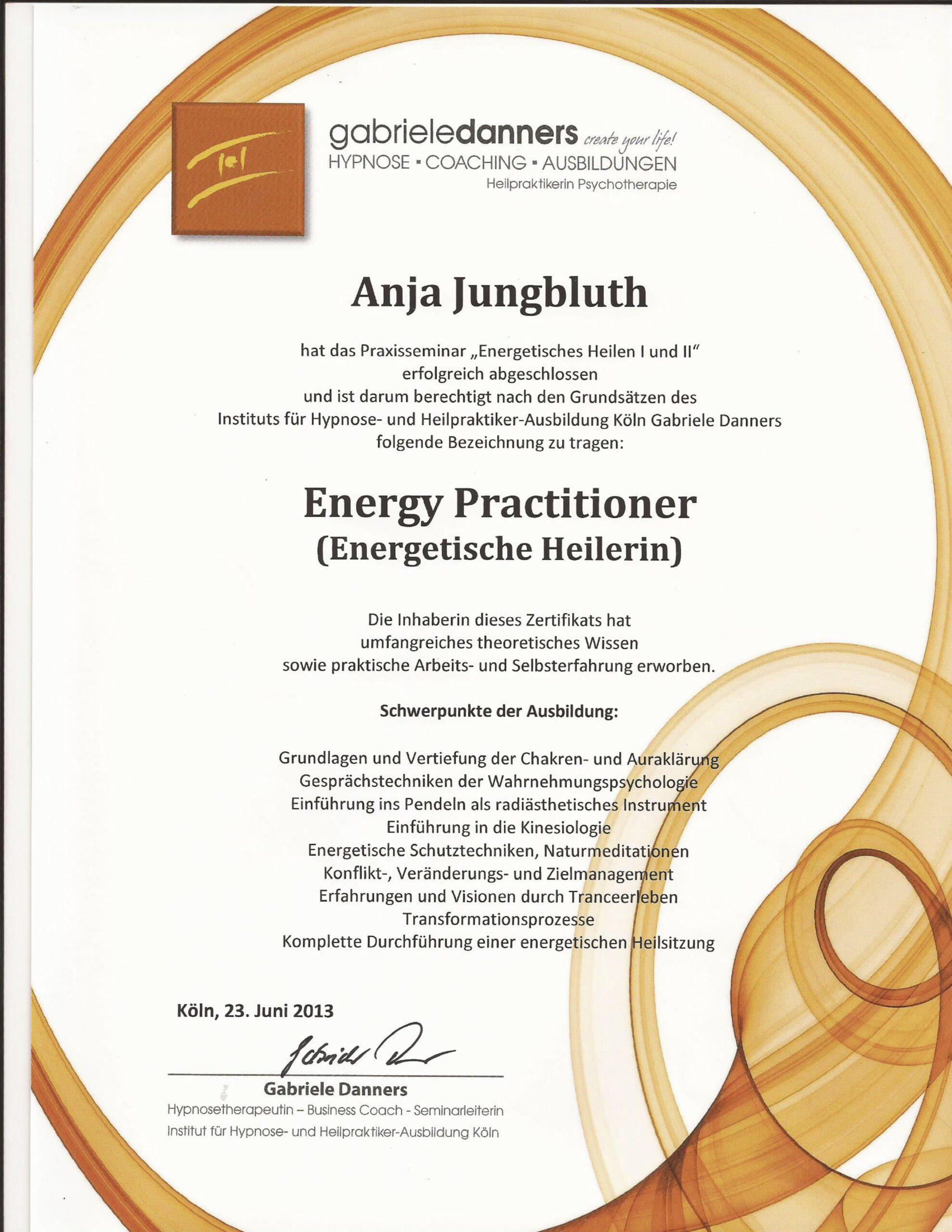 Energetische Heilerin Zertifikat