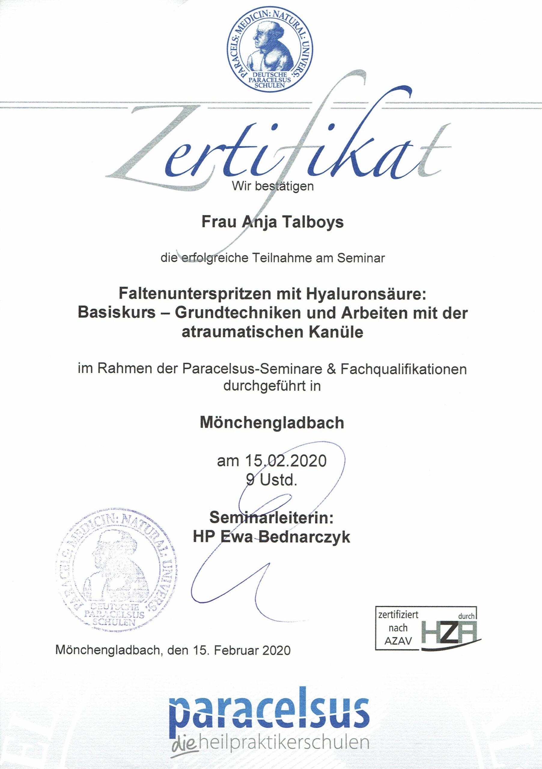 Faltenunterspritzung mit Hyaluronsäure Zertifikat