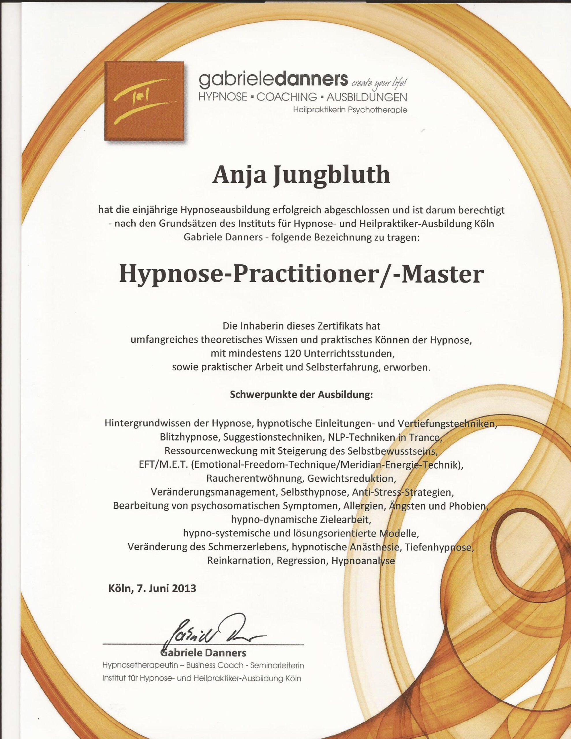 Hypnose Praktikerin Zertifikat
